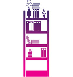 Silhouette education bookcase with folders vector