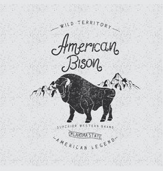 Vintage trademark with american bison vector