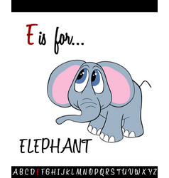 Vocabulary worksheet card with cartoon elephant vector