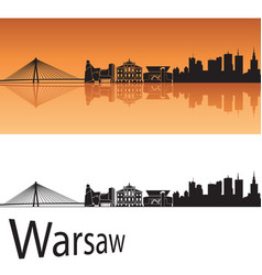 Warsaw skyline in orange background vector image vector image