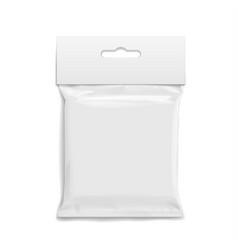 white realistic polyethylene bag with hang slot vector image vector image