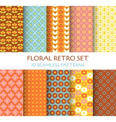 10 Seamless Patterns - Floral Retro Set vector image vector image
