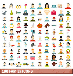 100 family icons set flat style vector image