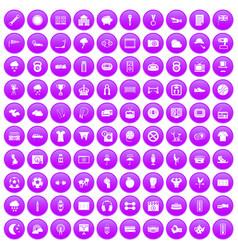 100 soccer icons set purple vector