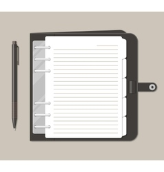 Opened notebook with pen in top view vector image