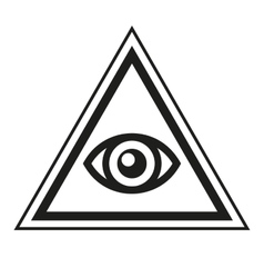 Masonic symbol all seeing eye inside pyramid vector