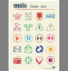 Media and communication web icons set vector