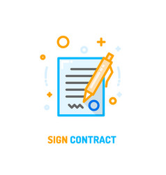 Signed contract icon vector