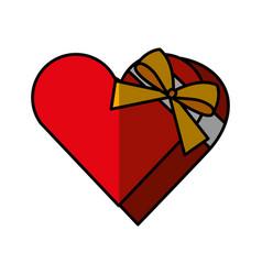 Heart giftbox present isolated icon vector