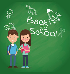 Back to school puplis board chalk drawing vector
