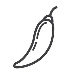 hot chili pepper line icon vegetable and mexican vector image