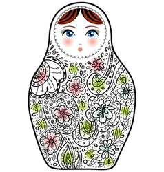 Russian doll matrioshka babushka sketch on white vector