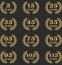 5-115 anniversary laurel wreath vector image