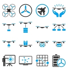 Drone shipment icon set vector