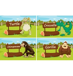 Wild animals standing by the sign vector image