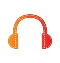 Headphones sign  orange applique vector