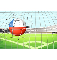 A ball hitting a goal with the flag of Chile vector image vector image
