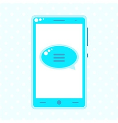 Blue mobile phone with speech buble vector