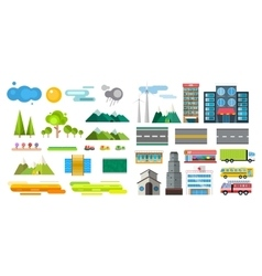Buildings and city transport flat style vector image vector image