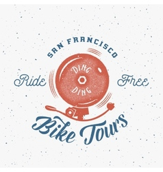 Bycicle bell abstract retro label or logo vector
