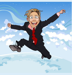 Cartoon man in suit and tie fun jumps vector