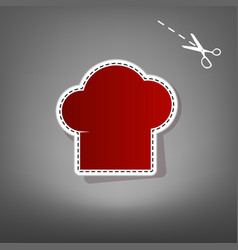 Chef cap sign red icon with for applique vector