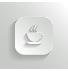 Coffee icon - white app button vector image vector image