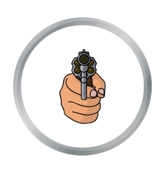 Directed gun icon in cartoon style isolated on vector