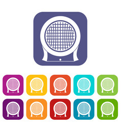 Electric heater icons set flat vector