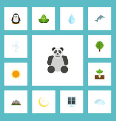 Flat icons eco energy sun power sprout and other vector