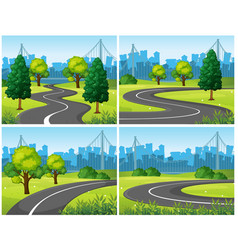 Four scenes of city park and roads vector