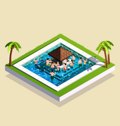 Friends in water park isometric vector