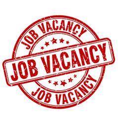 Job vacancy red grunge round vintage rubber stamp vector