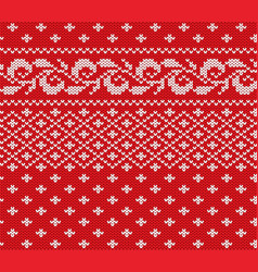Knitted christmas red and white floral seamless vector