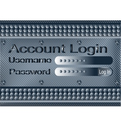 login form on metal plate vector image