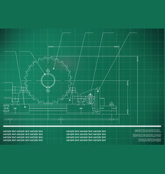 Mechanical drawings on a green white background vector