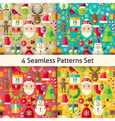 Merry Christmas Four Seamless Patterns Set vector image vector image