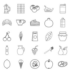 Nutrition icons set outline style vector