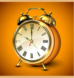 Orange retro style alarm clock vector