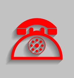 Retro telephone sign red icon with soft vector