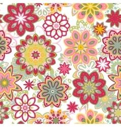 Seamless retro kaleidoscope flower background vector image