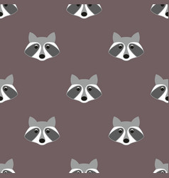 stylized head raccoon seamless pattern vector image