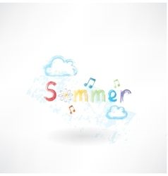 Summer music grunge icon vector image vector image