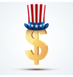 Symbol of the american dollar in uncle sam hat vector