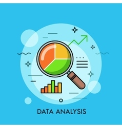 Thin line flat design of data analysis magnifier vector