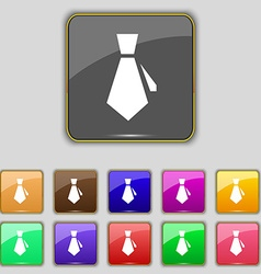 tie icon sign Set with eleven colored buttons for vector image vector image