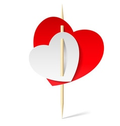 Two paper hearts on toothpick vector
