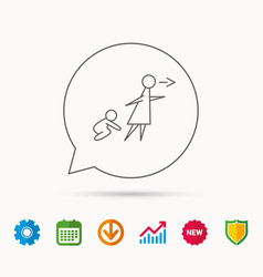 Unattended baby icon babysitting sign vector