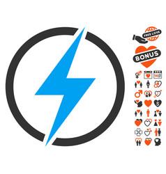 electricity icon with love bonus vector image