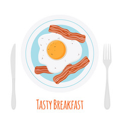fried bacon scrambled egg tasty breakfast vector image